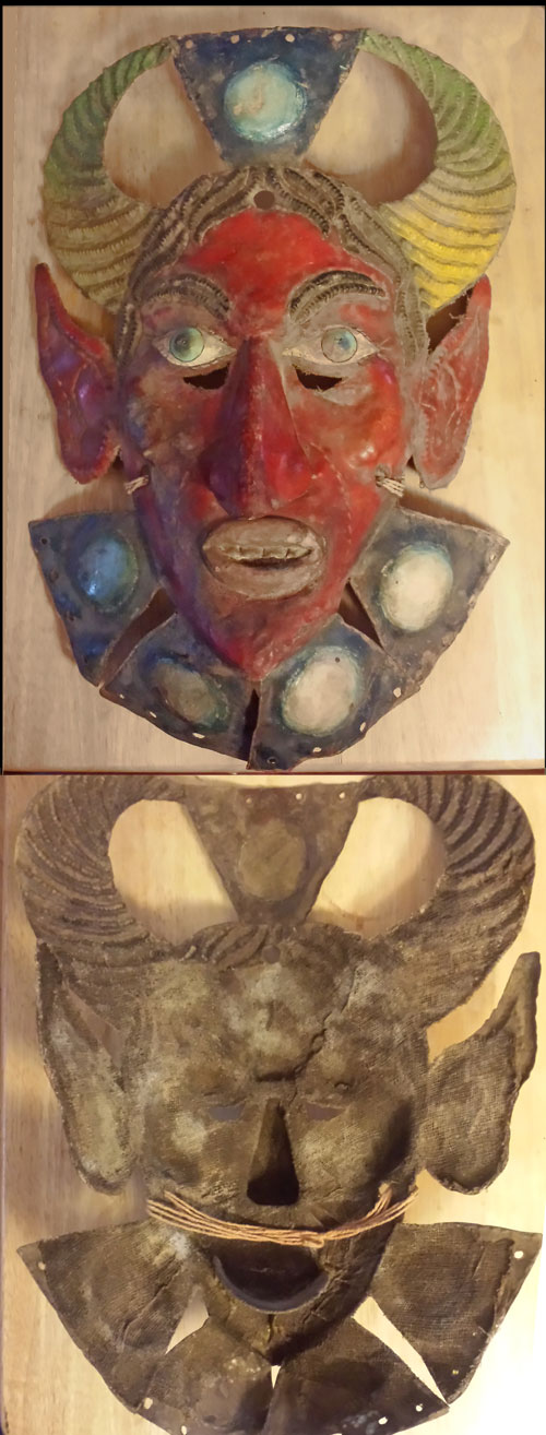 Mexican mask made of copper