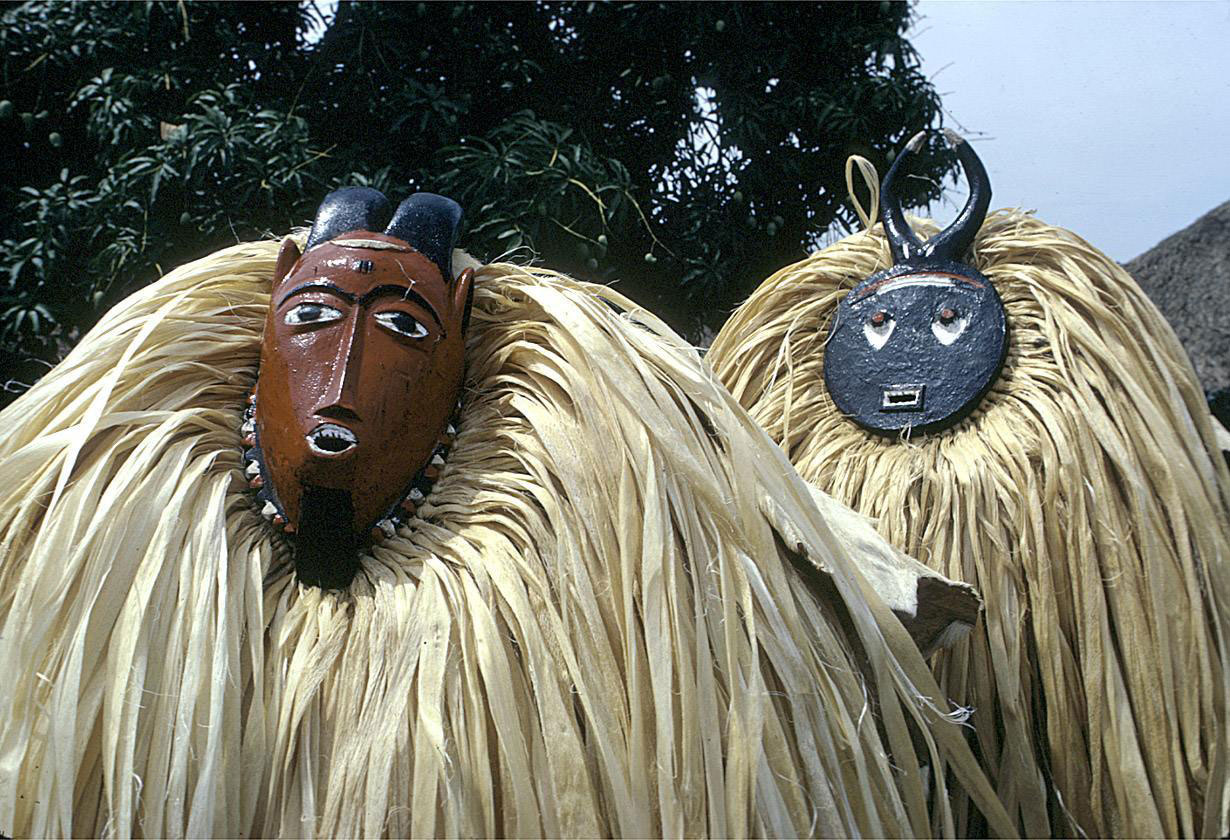 West African masks in use
