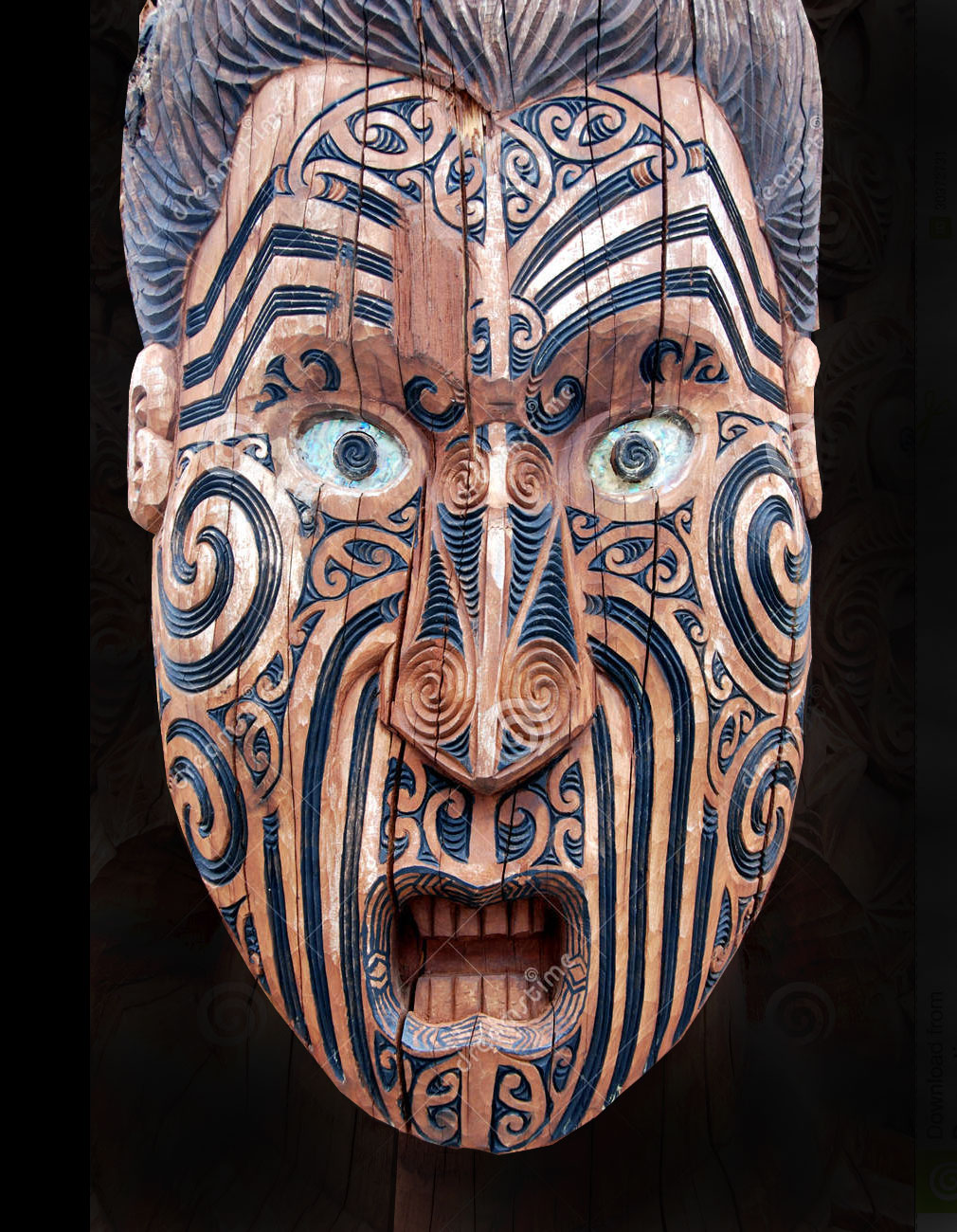 Maori mask from New Zealand