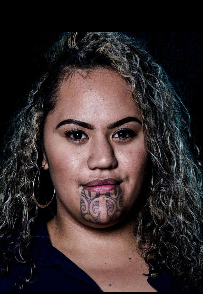 Modern Maori woman's chin tattoo