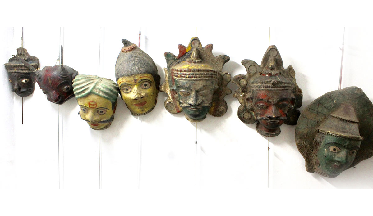 7 masks from the Kuchipudi theater in India